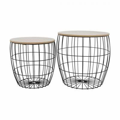 Fém kosaras kisasztal szett 2 db fekete vázzal, geometrikus mintával - VIRGINIE